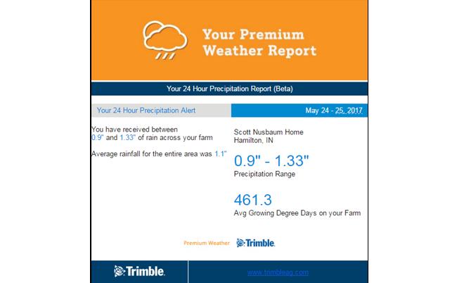 Alerty pogodowe Trimble Farm Weather Alerts